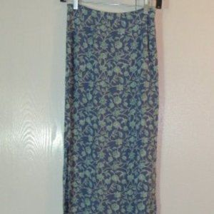 Blue Green Floral Maxi Skirt Size 1